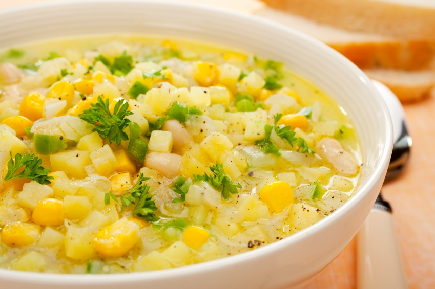 Corn Chowder Soup with Potatoes and Green Capsicum - The Heritage Cook ...