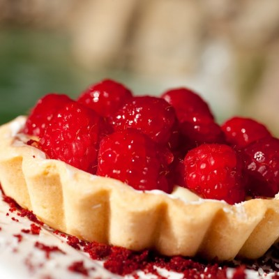 Sweetened Mascarpone Tart with Fresh Raspberries and Raspberry Sauce for Festive Friday!