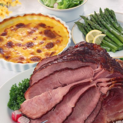 Bourbon Glazed Ham and Creamy Sweet Potato Gratin for Festive Friday!