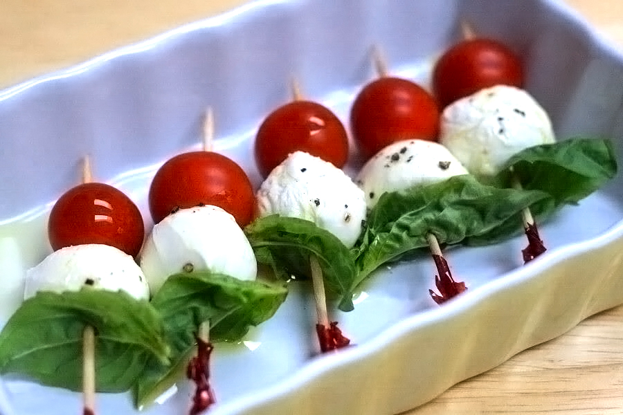 Summer Treats With Tomatoes Basil And Mozzarella Cheese