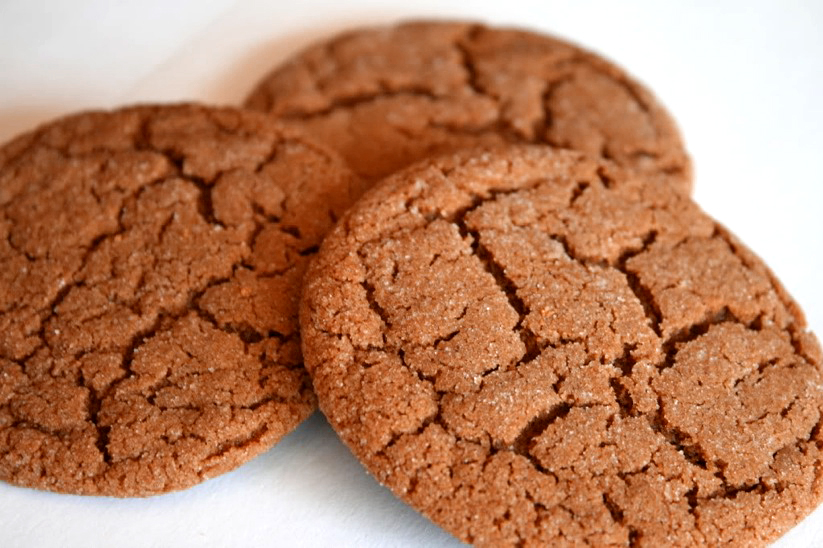 Spicy Crispy Gingersnap Cookies on cool kitchen pantry