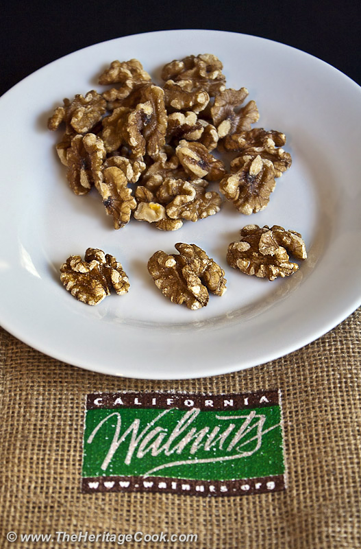 Plate of raw walnuts