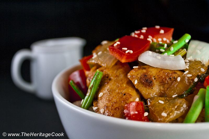 Orange Teriyaki Chicken Bowl copyright Jane Bonacci, The Heritage Cook