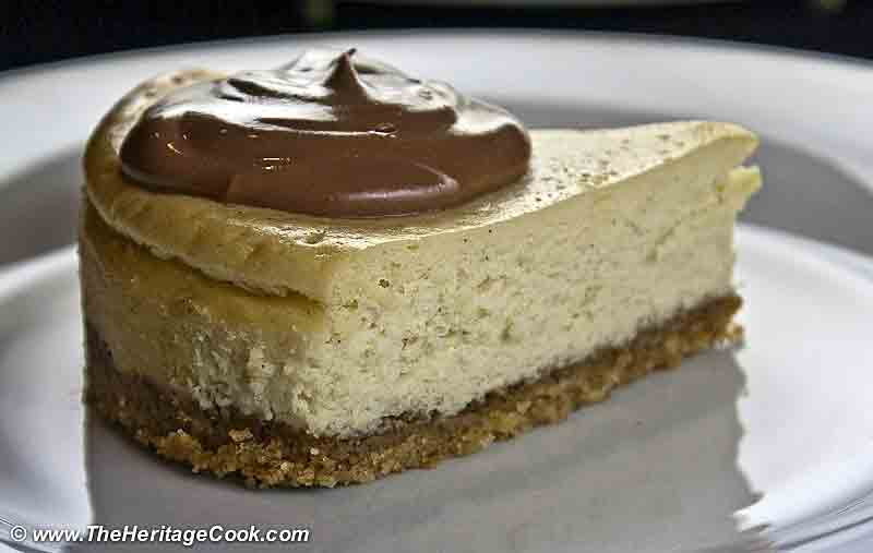 Vanilla Bean Cheesecake with Walnut Crust copyright Jane Bonacci, The Heritage Cook
