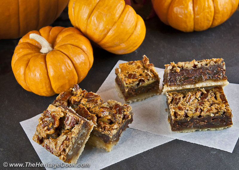 Chocolate Pecan Bars-copyright Jane Evans Bonacci, The Heritage Cook®.  All Rights Reserved