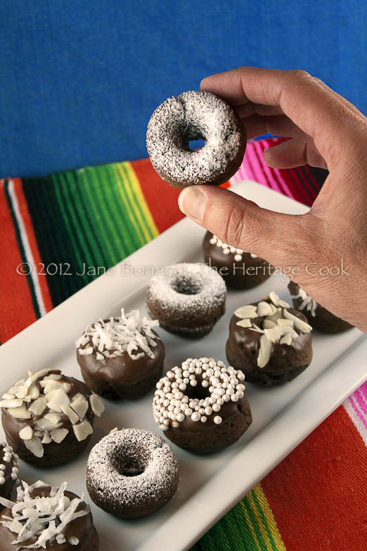 Gluten-Free Baked Mini Chocolate Cake Donuts copyright 2012 Jane Evans Bonacci, The Heritage Cook