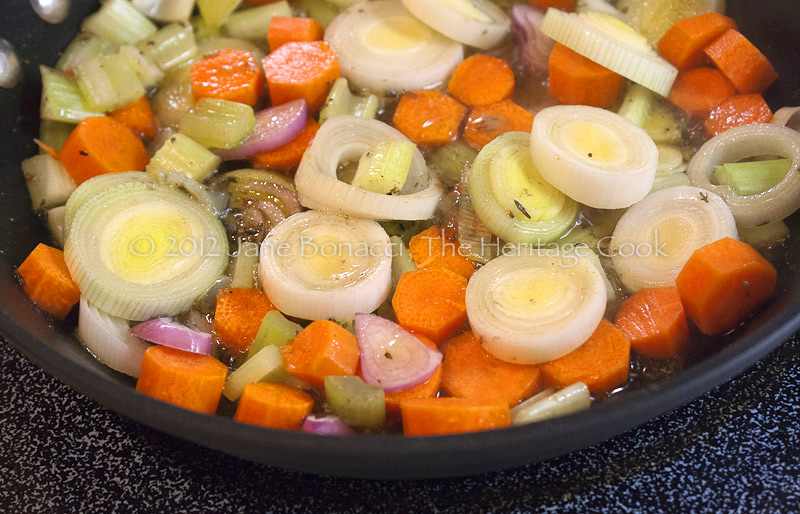 Fresh vegetables sauteing in a little of the beef fat - so good!