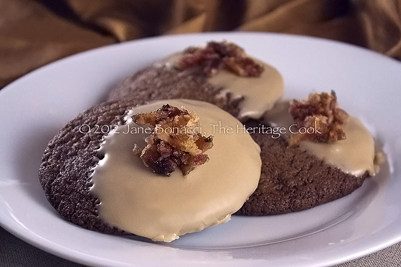 Milk Chocolate Cookies with Maple Frosting and Candied Bacon, The Heritage Cook