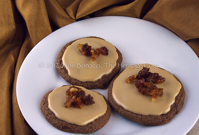 Milk Chocolate Cookies with Maple Frosting and Candied Bacon, The Heritage Cook, Gluten-Free