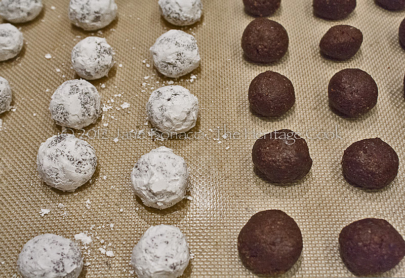 Bourbon Balls - half rolled in powdered sugar