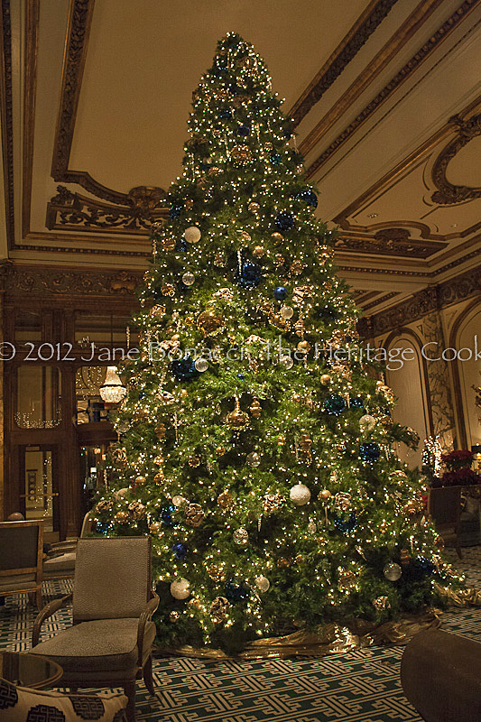 The grand Christmas tree in the lobby of San Francisco's Fairmont Hotel