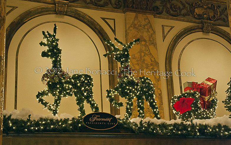Pine bough reindeer pulling a sleigh