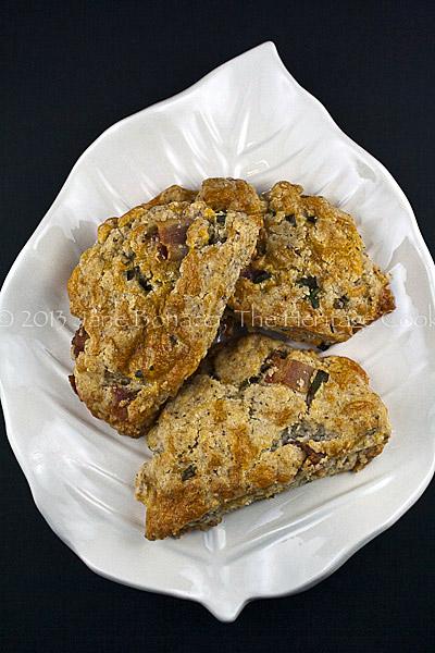 3 scones on leaf plate