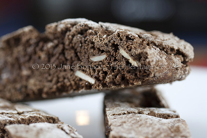 Close up of chocolate biscotti with sliced almonds