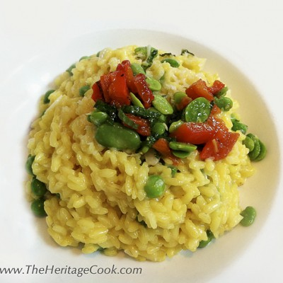 Pea and Saffron Risotto with Fava Beans (Gluten-Free)