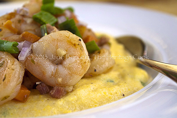 Shrimp and Polenta copyright 2013 Jane Bonacci, The Heritage Cook