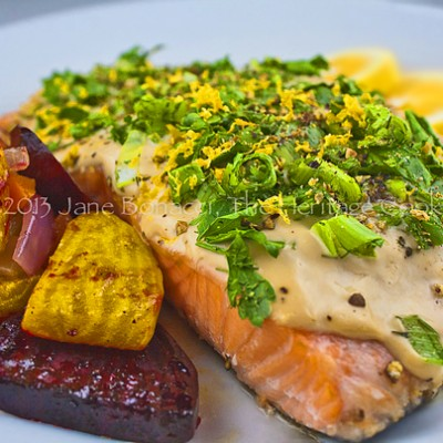 Grilled Salmon with Green Onions and Basil (Gluten Free) for Festive Friday