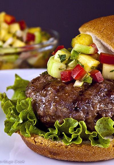 Grilled Pineapple Salsa on Pork Burgers
