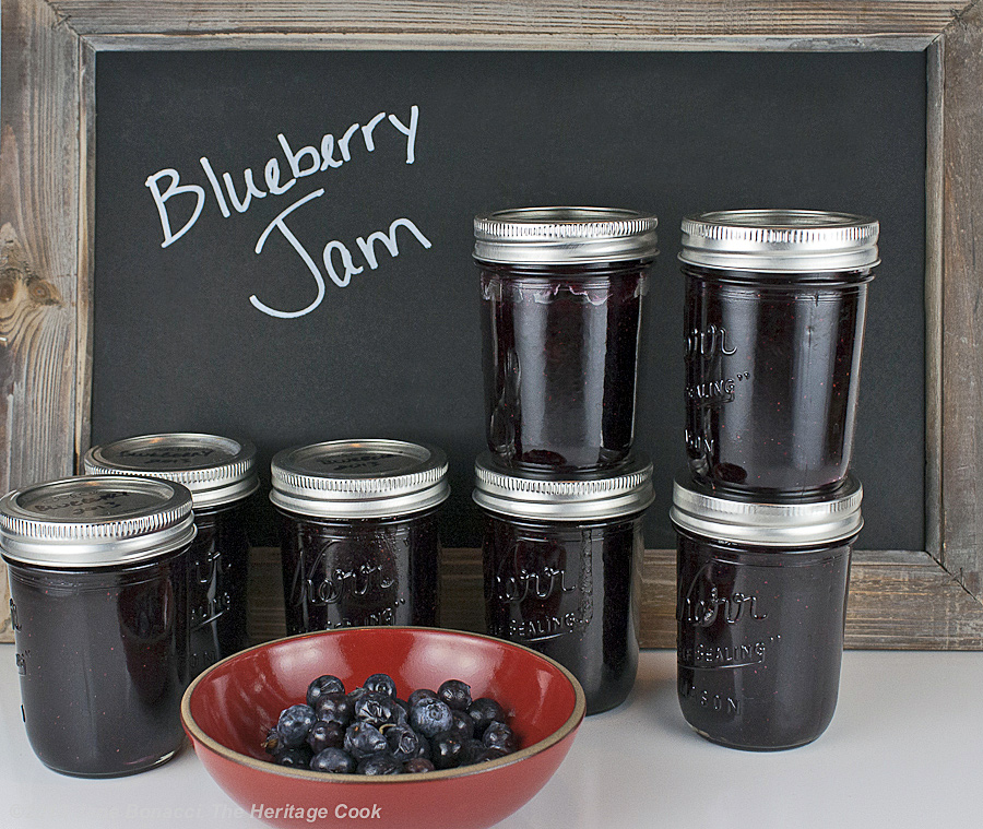 Homemade Blueberry Jam from The Heritage Cook; finished jars ready for storage