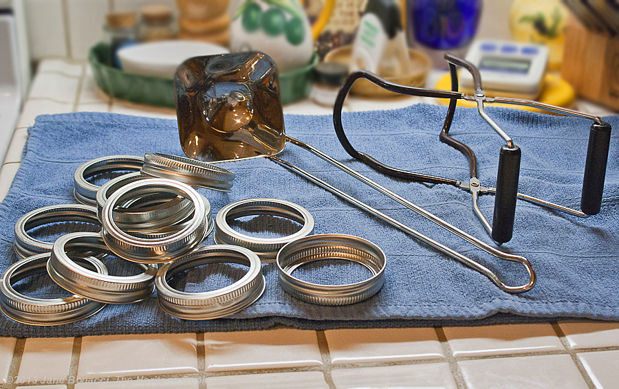 Homemade Blueberry Jam from The Heritage Cook; equipment ready for canning