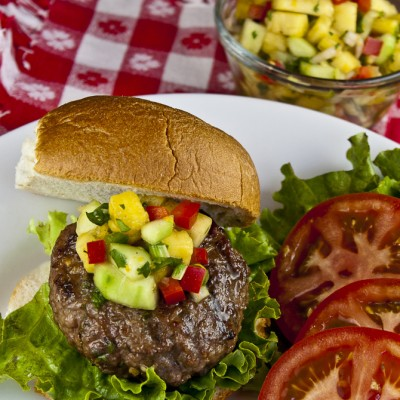 A Taste of Calypso – Pork Burgers with Grilled Pineapple Salsa (GF)