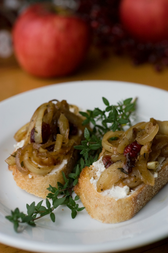 bruschetta with cheese and caramelized onions