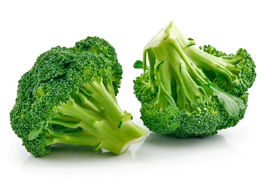 Fresh raw broccoli on white background