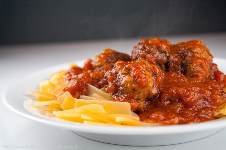 Meatloaf Meatballs & Marinara - The Heritage Cook 2013