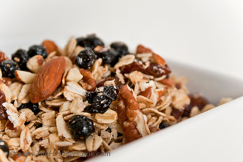 Maple Granola with Blueberries and Cherries; The Heritage Cook 2013