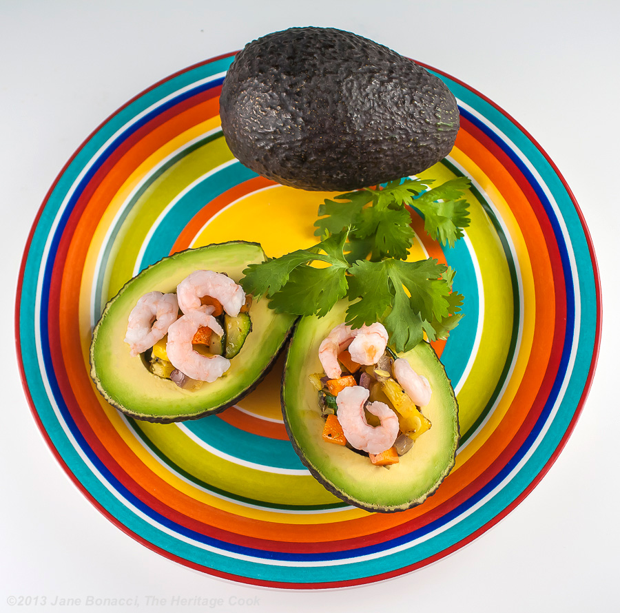 Vegetable-Stuffed Avocados with Shrimp, The Heritage Cook 2013
