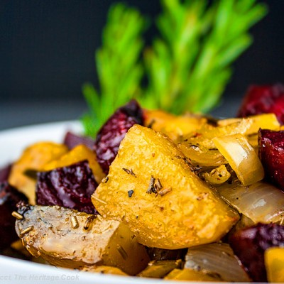 Rosemary Roasted Beets, Potatoes and Peppers
