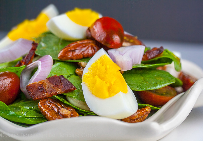 Updated Fresh Spinach Salad with Maple-Vinegar Vinaigrette; 2013 The Heritage Cook