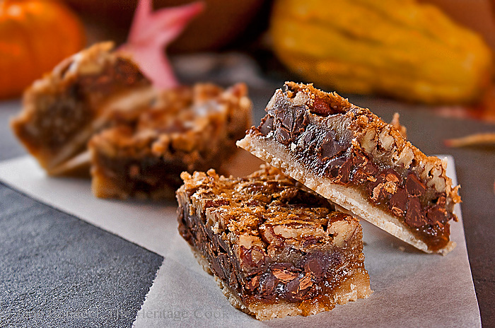 Pecan Pie Bars; 2013 Jane Bonacci, The Heritage Cook
