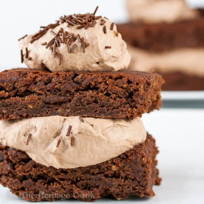 Fudgy Brownie Sandwiches with Chocolate Whipped Cream Filling (Gluten-Free)
