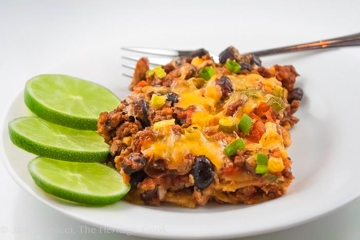 Zesty Cheesy Mexican Casserole; Gluten-Free; 2014 Jane Bonacci, The Heritage Cook