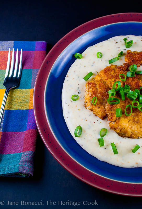 Breaded Chicken Cutlets with Madeira Cream Gravy; 2014 Jane Bonacci, The Heritage Cook.