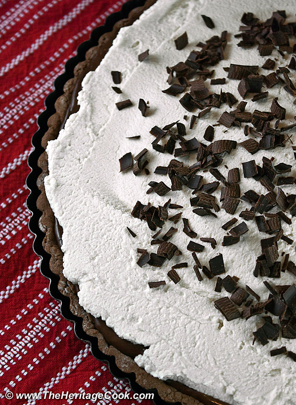 Chocolate Kahlua Tart with Mascarpone Cream; 2013 Jane Bonacci, The Heritage Cook.