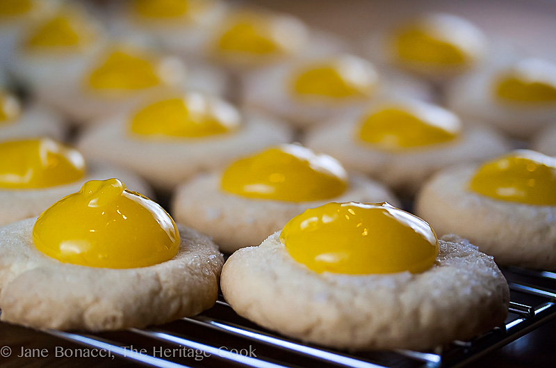 Photo Description: Meyer Lemon Shortbread Cookies with Meyer Lemon Curd (Gluten-Free); 2014 Jane Bonacci, The Heritage Cook