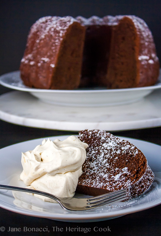 Red Wine Chocolate Cake & Mascarpone Whipped Cream; 2014 Jane Bonacci, The Heritage Cook.