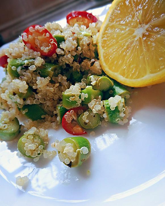 Asparagus-Chile-Lemon Quinoa Salad; 2014 Dimple Makani, Shivaay Delights