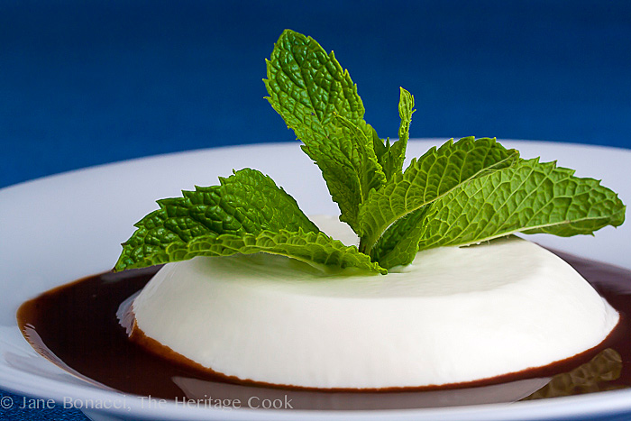 Coconut Panna Cotta & Choc-Rum Sauce; 2014 Jane Bonacci, The Heritage Cook