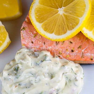 Herb Poached Salmon with Dill Tartar Sauce (Gluten-Free)
