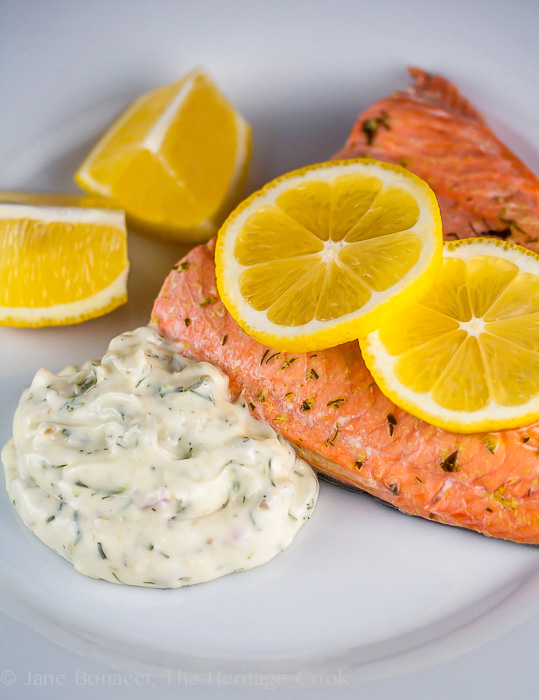 Herb Poached Salmon with Dilled Tartar Sauce; 2014 Jane Bonacci, The Heritage Cook