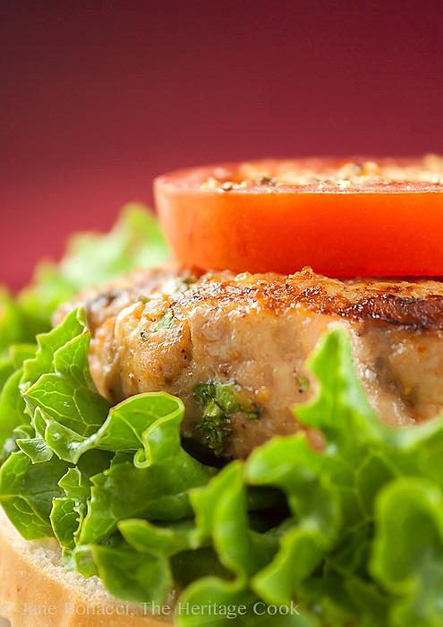Grilled Turkey Burgers with Harissa Aioli; 2014 Jane Bonacci, The Heritage Cook