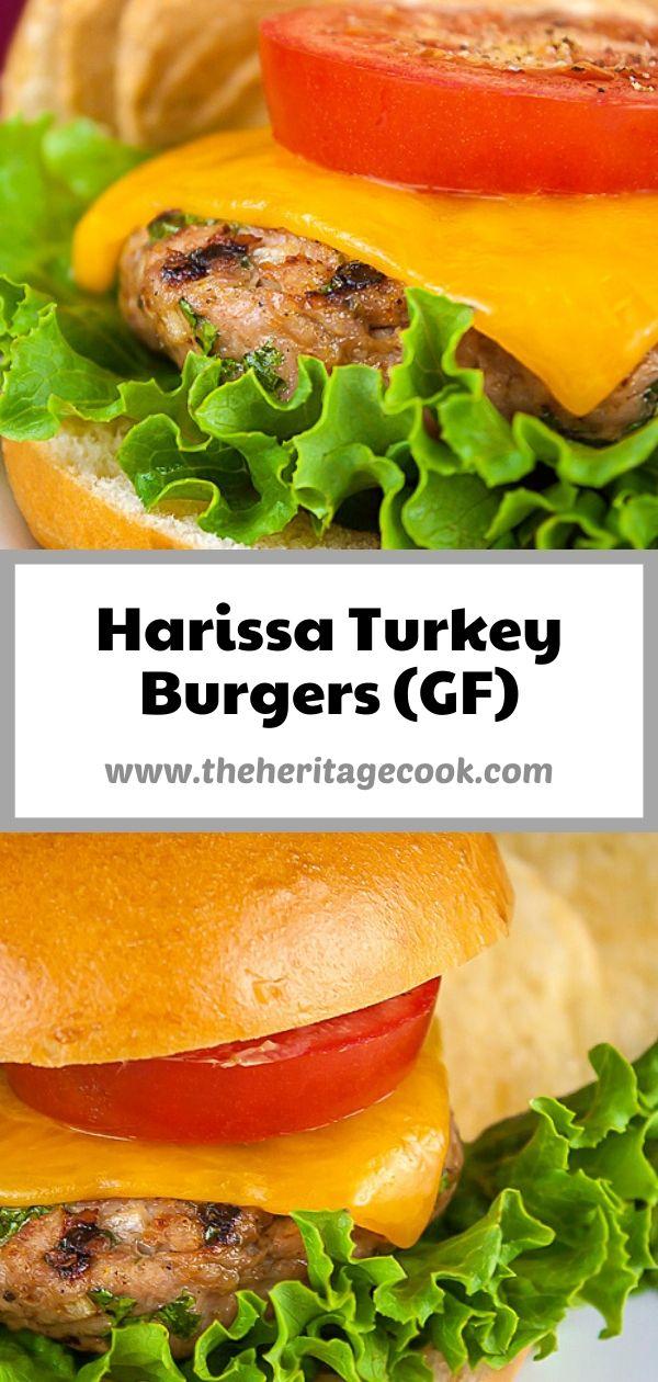 Juicy Grilled Turkey Burgers with Harissa Aioli; 2020 Jane Bonacci, The Heritage Cook