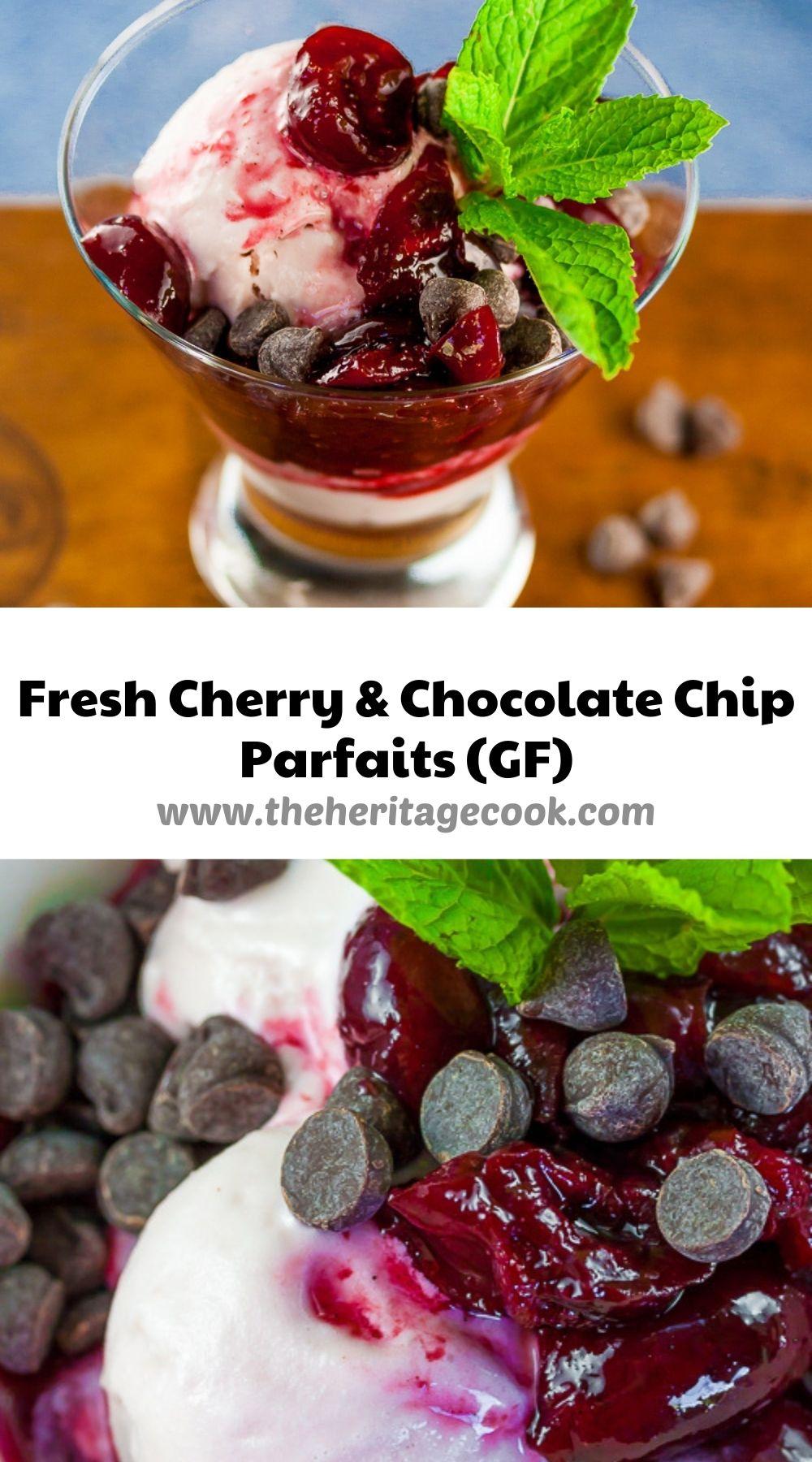Fresh Cherry and Chocolate Chip Parfaits © 2021 Jane Bonacci, The Heritage Cook