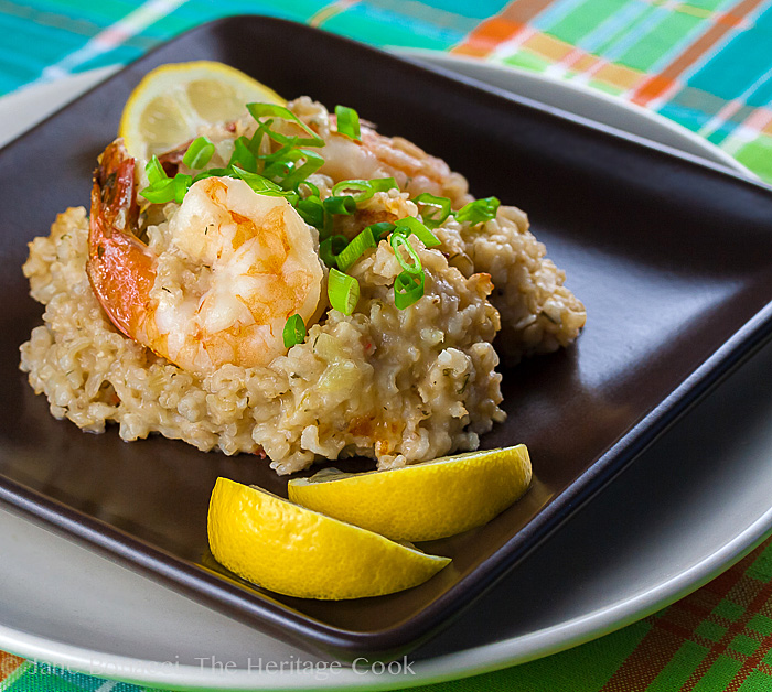 Dill Shrimp Brown Rice Risotto; 2014 Jane Bonacci, The Heritage Cook