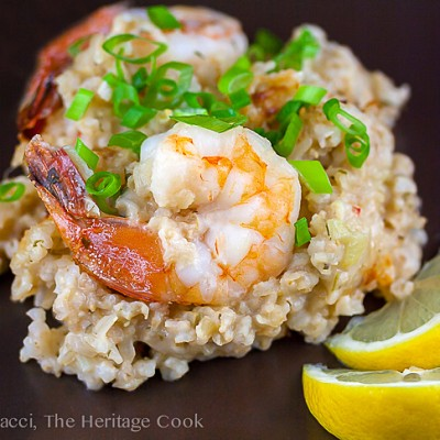 Dilled Shrimp and Brown Rice Risotto Casserole (Gluten-Free)