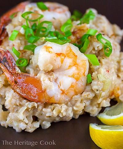 Dill Shrimp Brown Rice Risotto; 2014 Jane Bonacci, The Heritage Cook