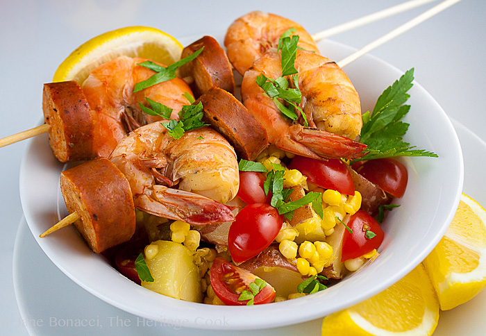 Old Bay Shrimp Boil Skewers; 2014 Jane Bonacci, The Heritage Cook
